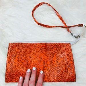 Handbags - VTG Orange Snakeskin Clutch/Wristlet